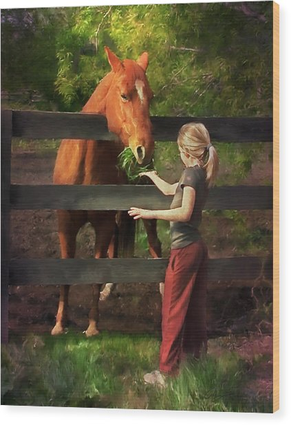 Blond With Horse Wood Print