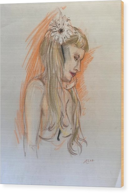 Blonde With White Flower Wood Print by Alejandro Lopez-Tasso