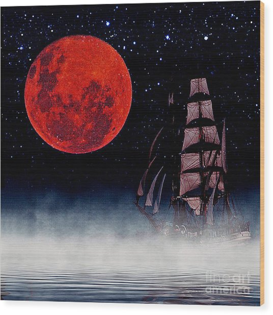 Blood Moon Wood Print