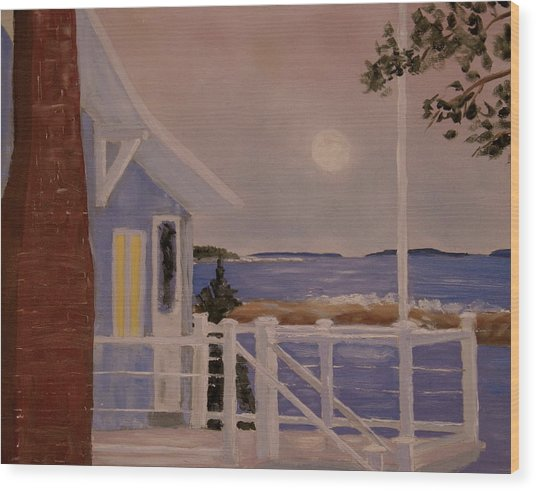 Blood Moon Over Muscongus Sound Wood Print