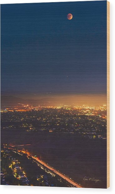 Blood Moon San Diego Wood Print