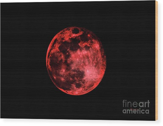 Blood Red Moonscape 3644b Wood Print