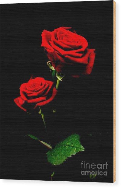 Blood Red Roses Wood Print by Valia Bradshaw