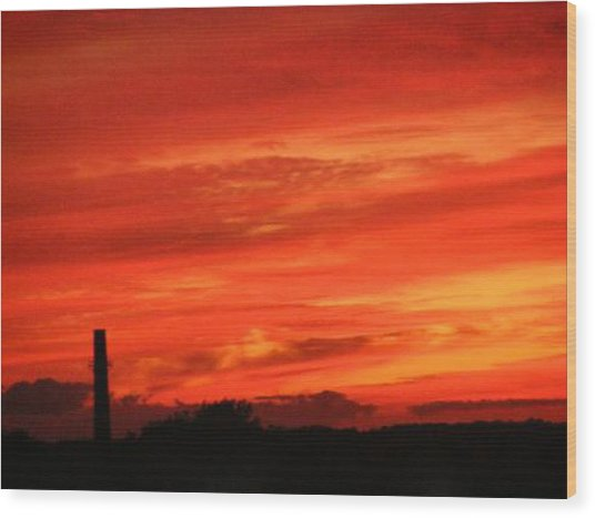 Blood-red Sky Wood Print