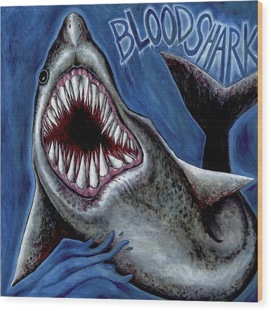 Blood Shark Wood Print