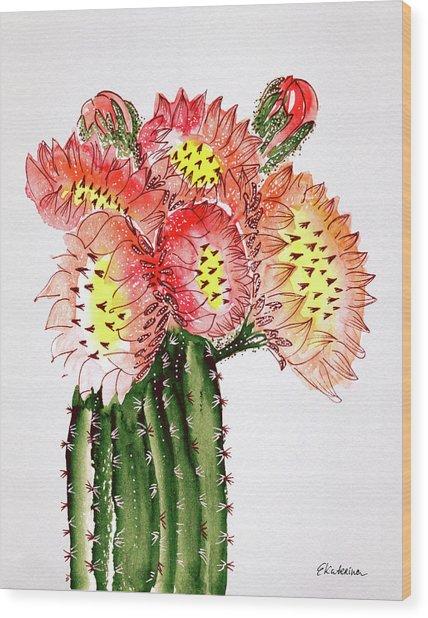 Blooming Cactus Wood Print