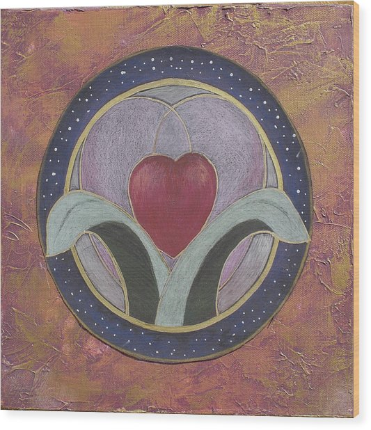 Blooming Heart Mandala Wood Print by Jo Thompson