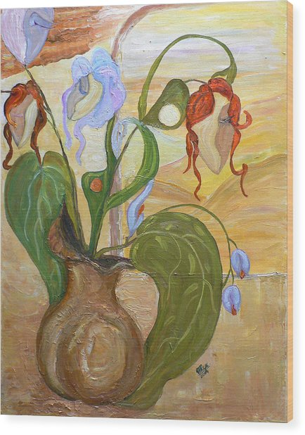 Blooming Orchids In The Vase Wood Print