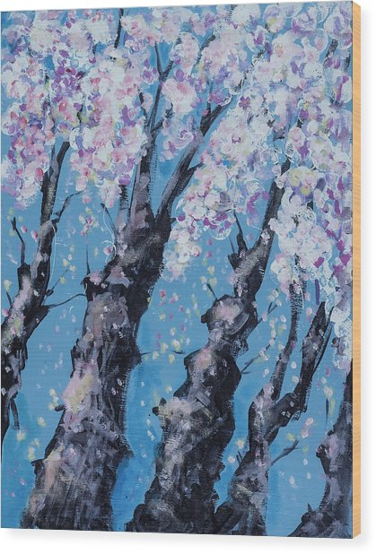 Blooming Trees Wood Print