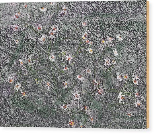 Blooms In Stone Wood Print