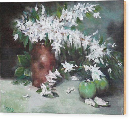 Blossom And Apples Wood Print