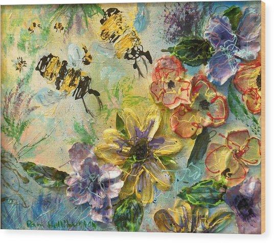 Blossom Buzz Wood Print