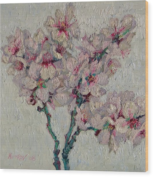 Blossoming Peaches Branch Wood Print by Vitali Komarov