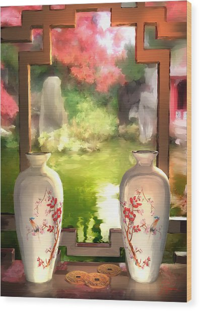 Blossoms And Vases  Wood Print