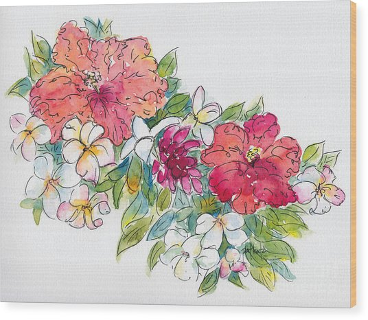 Blossoms Of French Polynesia Wood Print
