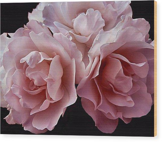 Blowsy Roses Wood Print