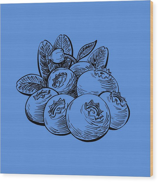 Blueberries Group Wood Print