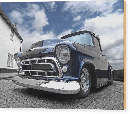 Blue 57 Stepside Chevy Wood Print