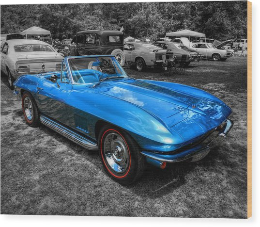 Wood Print featuring the photograph Blue '67 Corvette Stingray 001 by Lance Vaughn