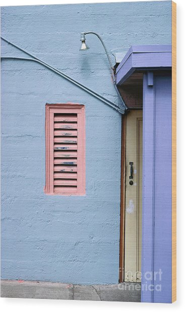 blue abstract building photography - The Blue Wall Wood Print