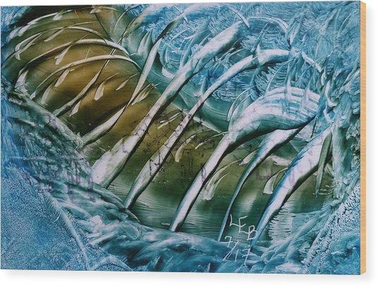 Blue Abstract Dark Ribbon Centre Wood Print