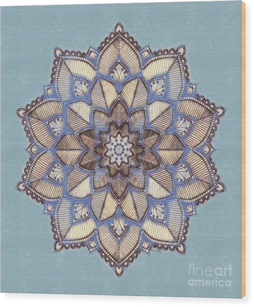 Blue And White Mandala Wood Print