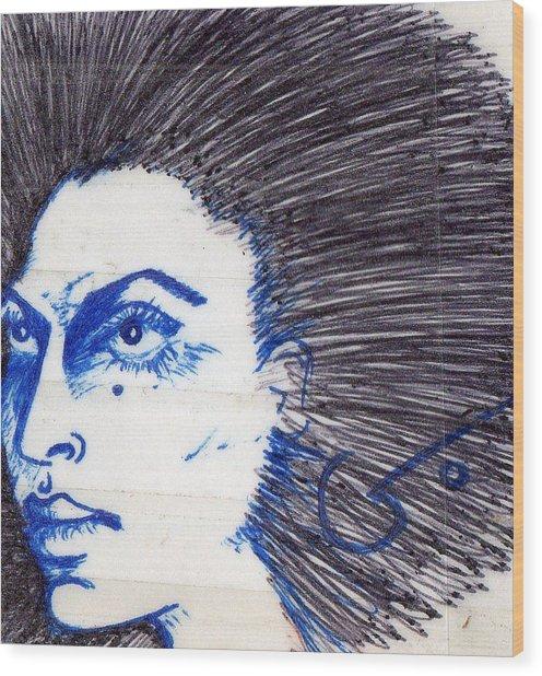 Blue Wood Print by Agatha Green
