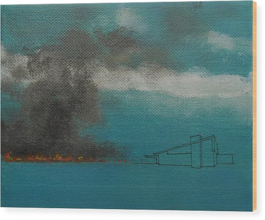 Blue Alexander With Brush Fire Wood Print