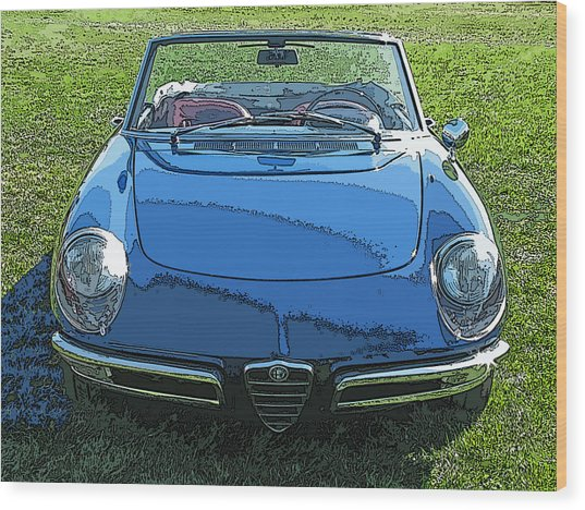 Blue Alfa Romeo Spyder Wood Print
