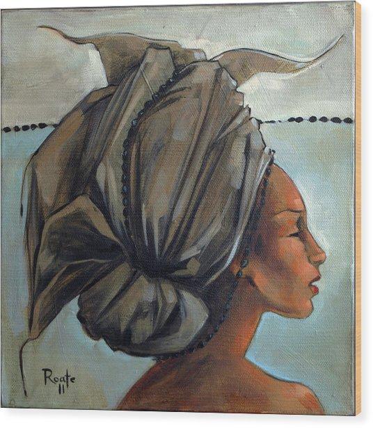 Blue And Black Bead Headdress Wood Print