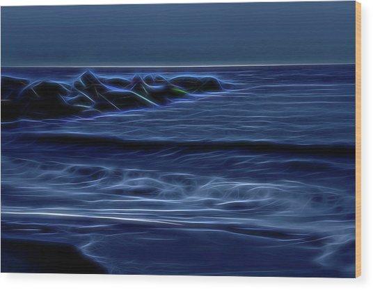 Blue And Black Wood Print by Zev Steinhardt