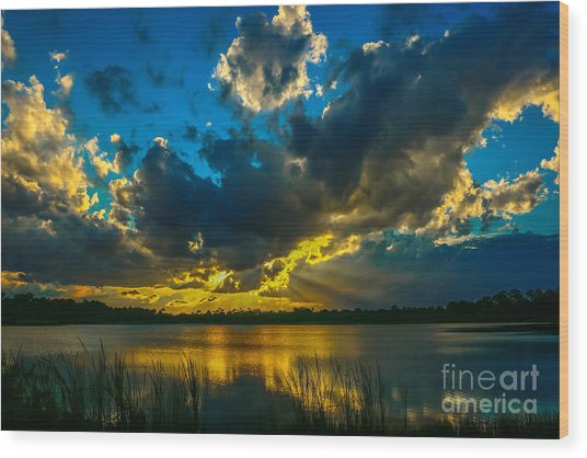 Blue And Gold Sunset With Rays Wood Print