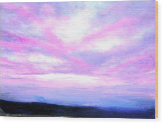 Blue And Pink Sky Wood Print