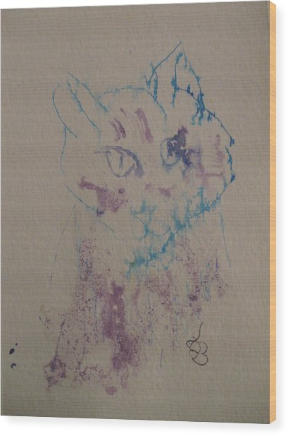 Wood Print featuring the drawing Blue And Purple Cat by AJ Brown