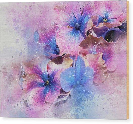 Blue And Purple Flowers Wood Print