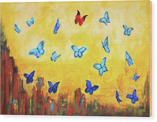 Blue And Red Butterflies Wood Print