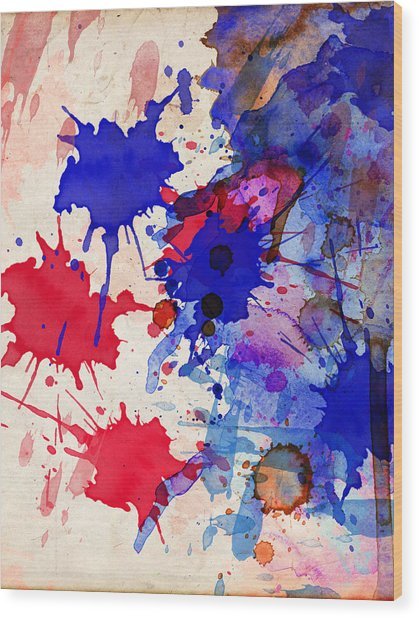 Blue And Red Color Splash Wood Print