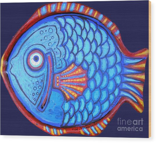 Blue And Red Fish Wood Print