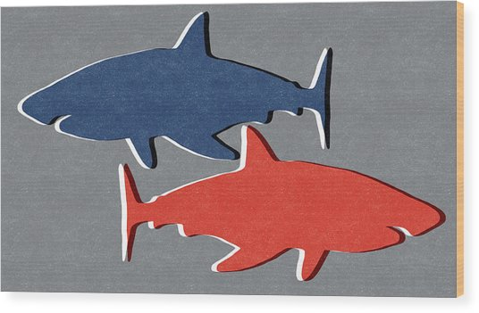 Blue And Red Sharks Wood Print
