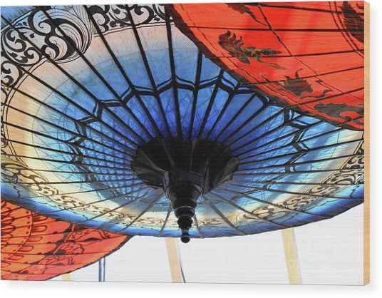Blue And Red Umbrellas Wood Print