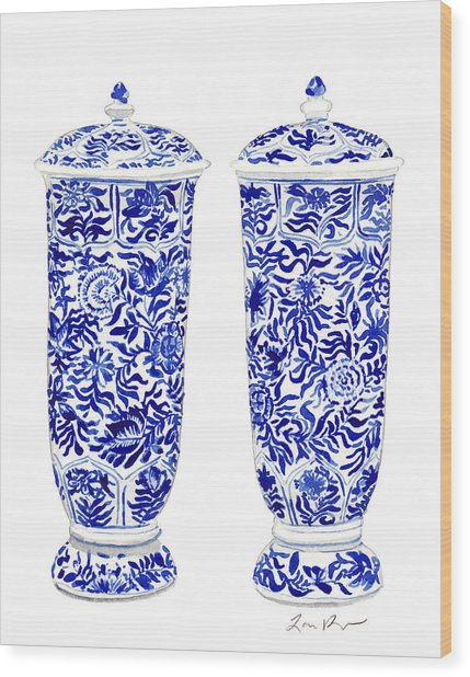 Blue And White Chinoiserie Vases Wood Print