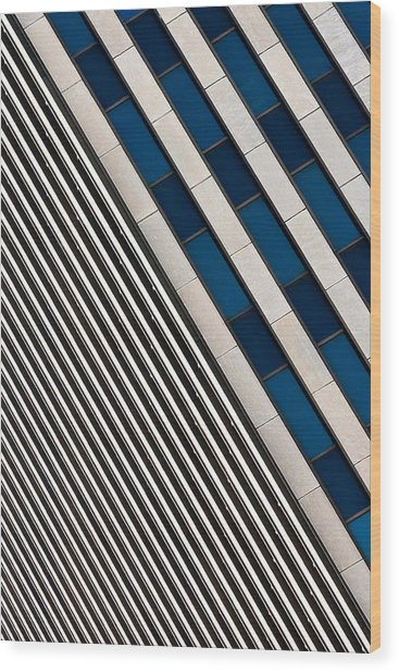 Blue And White Diagonals Wood Print