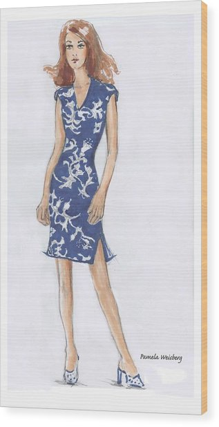 Blue And White Dress Illustration Wood Print