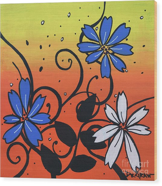 Blue And White Flowers Wood Print