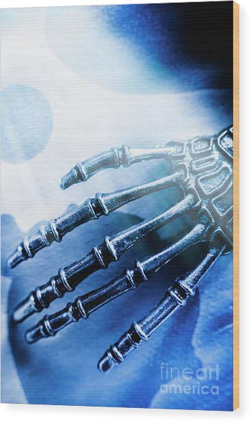 Blue Android Hand Wood Print