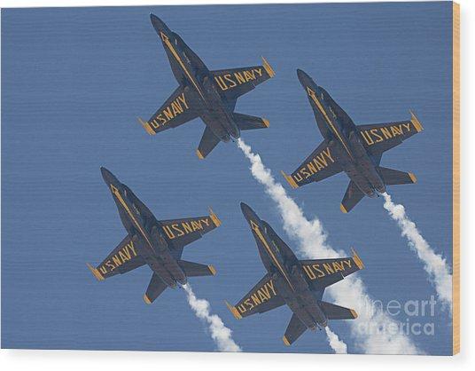Blue Angels Blue Skies Wood Print