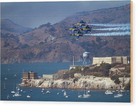 Blue Angels Over Alcatraz Wood Print