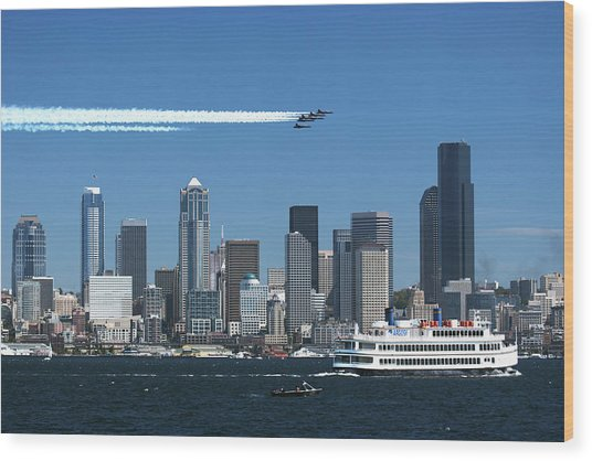 Blue Angels Over Seattle D028 Wood Print by Yoshiki Nakamura