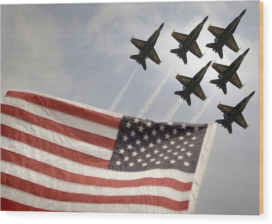 Blue Angels Soars Over Old Glory As They Perform The Delta Formation Wood Print