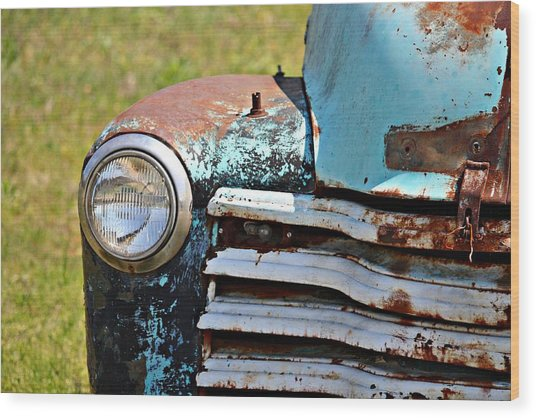 Blue Antique Chevy Grill- Fine Art Wood Print